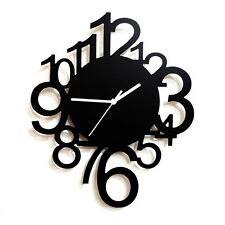 "12"" 30cm High Gloss Black & White Hanging Wall Clock Modern Style Funky Design"
