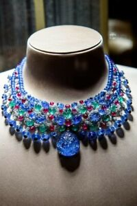 Carved Emerald Sapphire Ruby Diamond Necklace 925 Sterling Silver Handmade Lab