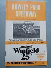 DECEMBER 2ND 1977 SPEEDWAY OFFICIAL PROGRAM ROWLEY PARK MEETING NUMBER 6
