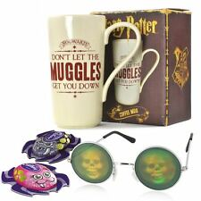 Halloween gift set with Harry Potter Mug, skull glasses and Cadbury Spiders