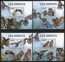 More details for burundi 2013 mnh owls long-eared owl 4x 1v deluxe s/s hiboux birds stamps