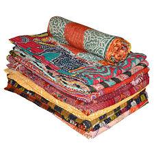 Indian Handmade Vintage Cotton Kantha Quilt Patchwork Bedspread Throw Blanket