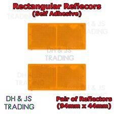 2x Self-Adhesive Amber / Orange Rectangular Trailer Reflectors 94mm x 44mm