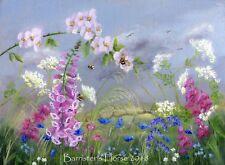"'BUMBLE BEE MEADOW', ORIGINAL ACRYLIC ON LINEN PAINTING, 16"" x 12""  ART"