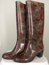 "Shaboom 16"" Side Zip PVC Brown Paisley Print Rain Boots Size 10 2"" Heels"