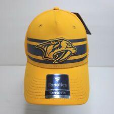Fanatics Predators Baseball Hat Yellow StretchFit Cap Embroider Medium-Large NEW