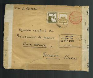 1944-45 Tel Aviv Palestine Cover to Red Cross Switzerland Double Used Envelope