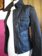 Ladies NEXT brown real leather JACKET COAT size UK 10 8 biker bomber military
