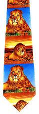 King of Beasts Men's Neck Tie Lion African Big Cat Wild Animal Gift Blue Necktie