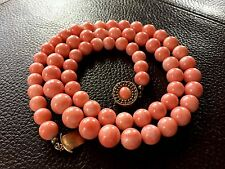 珊瑚 70g! 14k 15k Chinese Antique Vintage no dye Salmon coral necklace