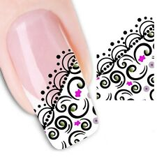 Nail Art Sticker Water Decals Transfer Stickers Black Lace (XF1302)