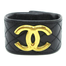 CHANEL 97A CC Charm Quilted Leather Bangle Bracelet Black Accessories 32817