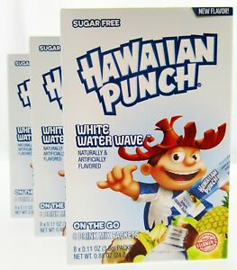 Hawaiian Punch White Water Wave ~ Packets ~ Sugar Free ~ Drink Mix ~ Lot of 3