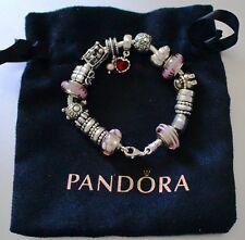 Genuine Pandora 18cm Bracelet 18x Pandora Charms Silver and Glass Charms