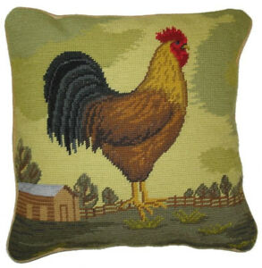 """Needlepoint Pillow   French Country Cottage Rooster 14"""" x 14"""" Handmade Wool"""