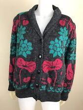Para mujer Vintage Década de 1980 Gris Floral acogedor Suéter Chaqueta 31d609df08f2