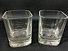 Pair of Crown Royal Whiskey Square Rocks Glasses 2000 Set Of 2 Embossed Barware