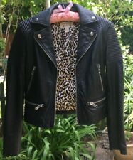 Mango real black leather biker jacket with cheetah silk lining studs XS excellen