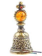 Bronze Solid Brass Baltic Amber Miniature Hand Bell Sacred Cross IronWork