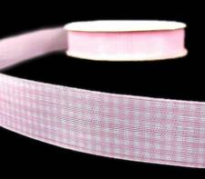 "5 Yds Pink White Gingham Sheer Ribbon 7/8""W"