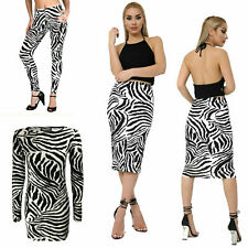 New Ladies Zebra Print Legging Midi Dress Skirt Fashion Outfit Plus Size 8-22
