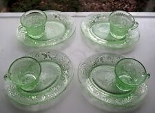 Tiara Indiana Glass 4 Chantilly Green Sandwich Snack Plate & Cup Sets