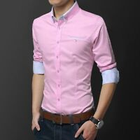 Luxury Dress Shirts Tops Stylish Slim Fit Men's Business Shirt Long Sleeve