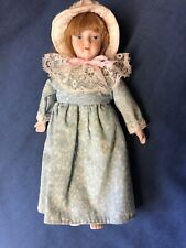 "Vtg Doll with Porcelain Head Arms/Hands, Legs/Feet Cloth Body 7"" Calico & Lace"