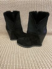 "UGG CLASSIC MONDRI CUFF BLACK LEATHER 4"" WEDGE BOOTS BOOTIES US 7 WOMEN"