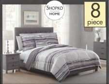 "8 Pc Comforter Set ~ Gray Purple White Abstract ~ Queen 86"" x 86"" **NEW**"