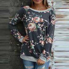 Womens Floral Splicing Loose T-Shirt Casual Blouse Sweatshirt Long Sleeve Tops