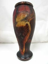 ANTIQUE AUSTRALIAN POKER WORK GUM LEAF KOOKABURRA PAINTED TIMBER VASE