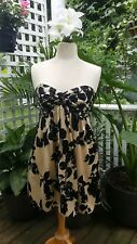 SEXY MILLY OF NEW YORK IVORY & BLACK SILK CHARMEUSE STRAPLESS DRESS OR TOP SZ 10