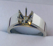 5CT SOLITAIRE RING MOUNTING 6MM WIDE HEAVY 14K SOLID WHITE GOLD