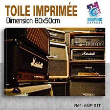 80x50cm - TOILE IMPRIMÉE- TABLEAU MODERNE DECORATION MUSIQUE AMPLI MARSHALL - AM