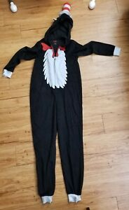 CAT IN THE HAT Adult Large Pajamas Costume Dr Seuss Hooded Zip One Piece Fleece