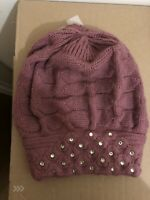 Women's Pearl Embellished Lilac/ Pink  Beanie In Excellent Condition