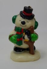 Vintage Christmas Candle  Happy Snowman with Penguin