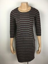 Henri Lloyd Stretch Knit Stripe Bodycon Dress 3/4 Sleeve Size XS