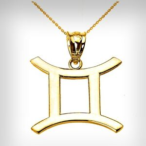 14K Yellow Gold Gemini (May 21-June 20) Zodiac Sign Pendant Necklace