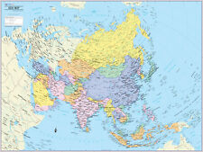 """Cool Owl Maps Asia Continent Wall Map Poster - Paper 32""""x24"""""""
