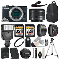 Canon EOS M100 Mirrorless Digital SLR Camera - 3 Lens Kit + 64GB + PRO FLASH