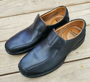 Clarks Collection 14885 Men's Black Leather Ortholite Bicycle Toe Loafers 8 M