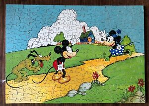 MICKEY & MINNIE MOUSE VINTAGE WOODEN JIGSAW  BY CHAD VALLEY - COMPLETE