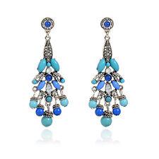 Boucles d`Oreilles Clous Argenté Chandelier Bleu Marine Turquoise Vintage XX16