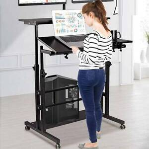 Adjustable Height Laptop Table Stand up Computer Desk Sofa Bed Desk With Wheels