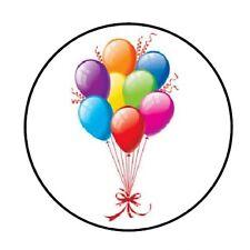 "48 BIRTHDAY BALLOONS ENVELOPE SEALS LABELS STICKERS 1.2"" ROUND"