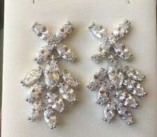 White gold & simulated diamond large chandelier drop earrings Plum UK BOXED