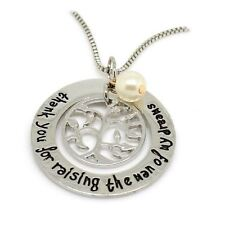 925 Silver Plt 'Thank You For Raising The Man Of My Dreams' Necklace Fiance C