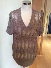 Olsen Top Size14 Bnwt Brown V Neck Rrp £89 Now £27